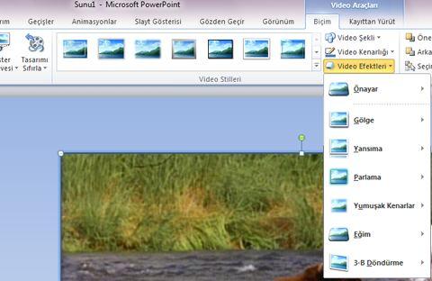 Videoya özel efektler uygulama