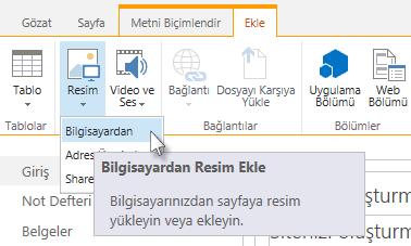 Bilgisayardan resim ekleme seçeneği