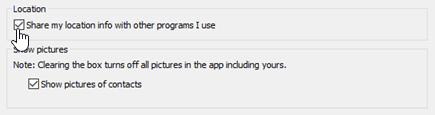 Skype Kurumsal kişisel Seçenekler menüsündeki konum seçenekleri.