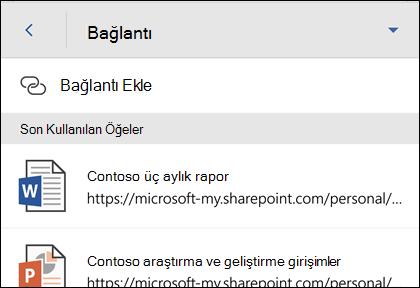 Son kullanılan Office dosya için köprü ekleme.