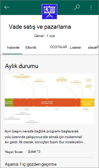 Bir ekip sitesinde haber sekmesinin Ekran görüntüsü