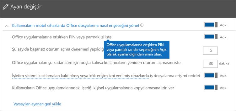 Office uygulamalarına erişirken PIN veya parmak izi iste seçeneğinin Açık olarak ayarlandığından emin olun.