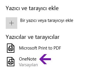 Windows 10 için OneNote'ta not defteri konumu seçimi menüsü