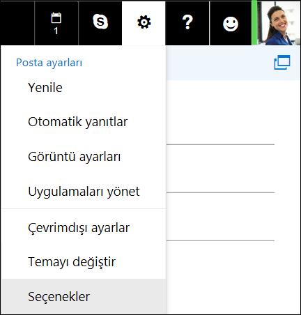 Web'de Outlook Ayarlar Seçenekler