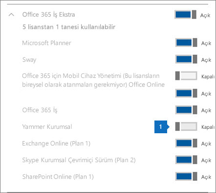 Yammer lisansının kapalı olduğunu gösteren ekran görüntüsü
