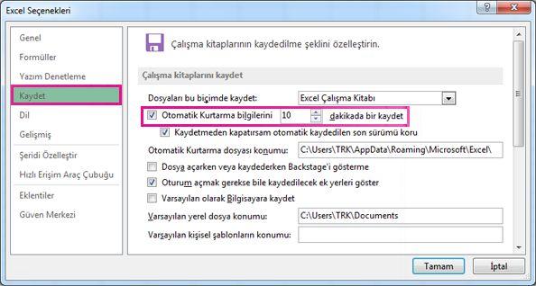 Excel Seçenekleri'nde Kaydet seçeneği