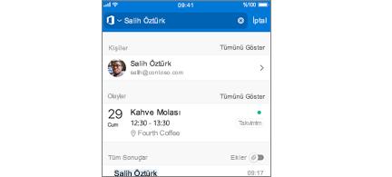 Arama sonuçlarında toplantılarla Outlook Mobile takvimi