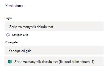 Ekipte atamaya eklenmiş test
