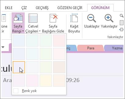 Sayfanın arka plan rengini değiştirmek için Sayfa Rengi düğmesini kullanın.