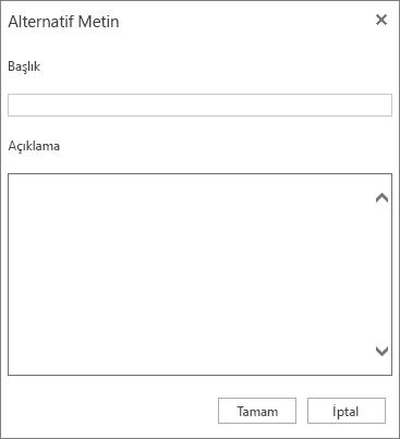 Başlık ve Açıklama alanlarını içeren Alternatif Metin iletişim kutusunun ekran görüntüsü.