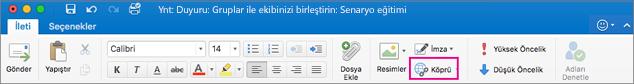 Mac için Outlook şeridindeki Köprü düğmesi
