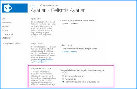 SharePoint'teki bir Belge Kitaplığı için Gelişmiş Ayarlar sayfasının ekran görüntüsü
