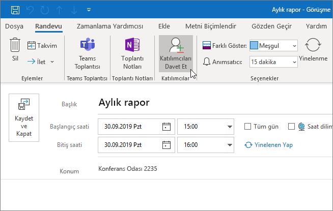 Outlook'ta randevu zamanlama