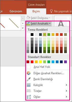 Office'te satır rengi seçeneklerini gösterir