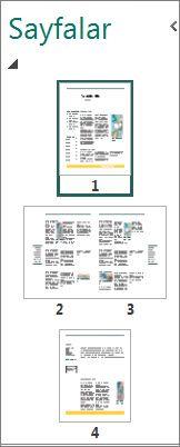 Hem tek sayfayı hem de karşılıklı iki sayfayı gösteren sayfa gezinti bölmesi.