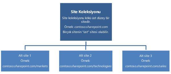 en üst düzey siteleri ve alt siteleri gösteren bir site koleksiyonunun hiyerarşik diyagramı.