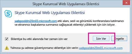 Skype Kurumsal Web Uygulaması Eklentisi etki alanına güven