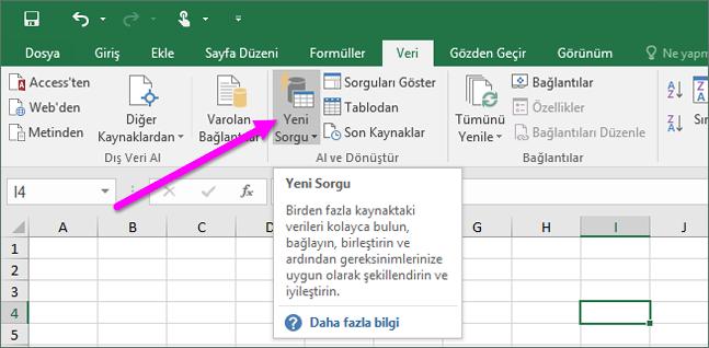 Excel 2016'da Yeni Sorgu