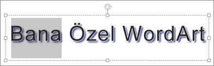 Metnin bir bölümü seçili olarak WordArt