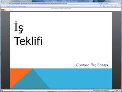 yayınlanan bir slayt gösterisi, tarayıcıdaki görünümü