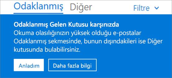 Kullanıcı web üzerinde Outlook'u ilk açtığında Odaklanmış Gelen Kutusu'nun nasıl göründüğünü gösteren resim.
