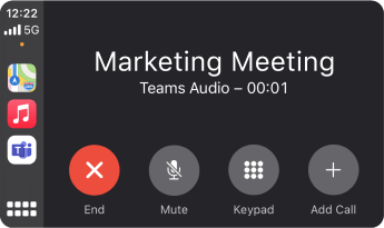 Apple CarPlay kullanarak bir Teams nasıl göründüğünü gösteren resim.