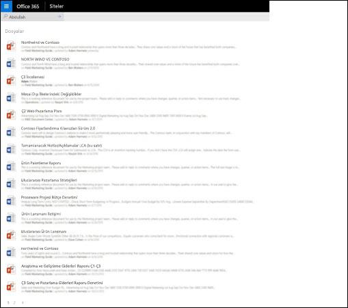 SharePoint giriş arama sonuçları ayrıntıları