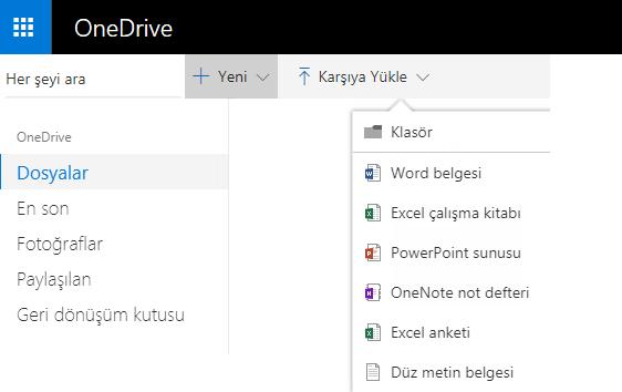 OneDrive.com'dan belge oluşturma işleminin ekran görüntüsü