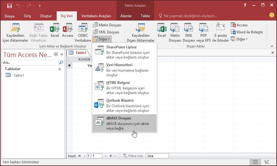 Dış Veri şerit sekmesinde seçilen dBASE Dosyası ile Access seçeneğinin ekran görüntüsü