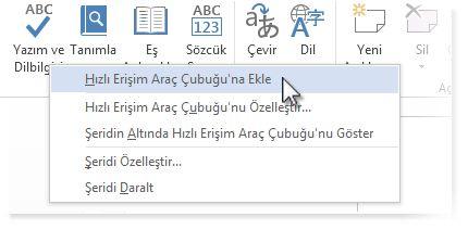 word'de hızlı erişim araç çubuğuna yazım denetimi ve dilbilgisi komutunu ekleme