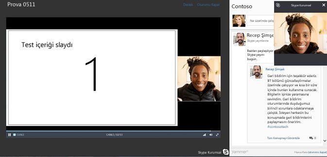 Yammer tümleştirmesiyle Skype Toplantı Yayını