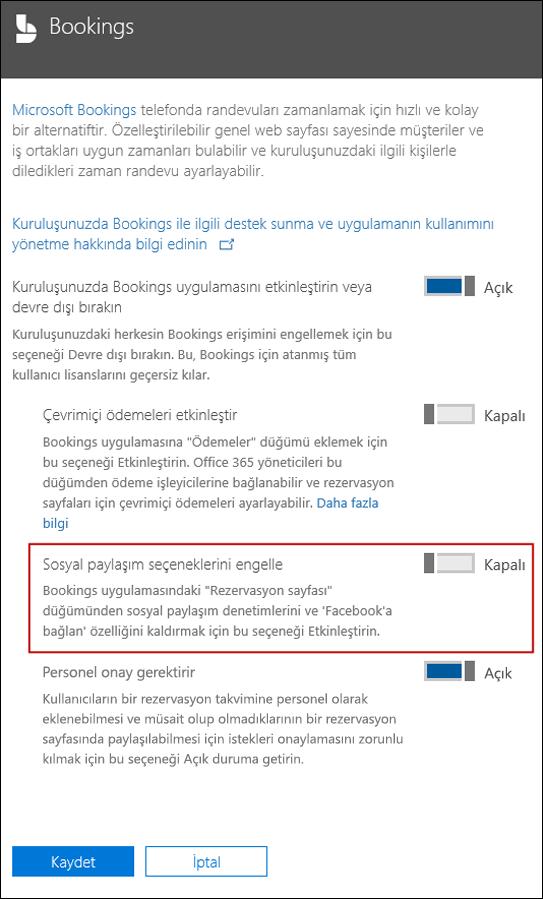 Ekran görüntüsü: Kayıtları seçeneklerinde paylaşımı sosyal engelleme