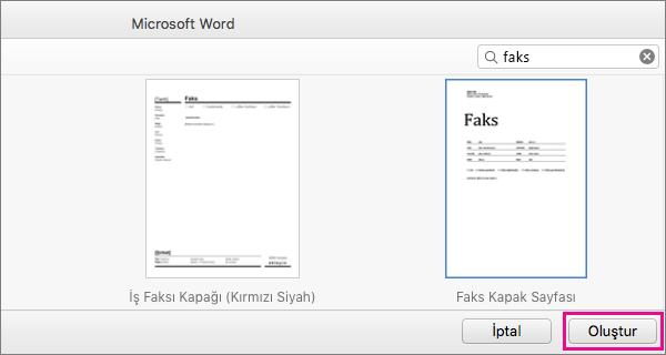 """Faks kapak sayfası oluşturmak için """"faks""""ı arayın, şablon seçin ve Oluştur'a tıklayın."""