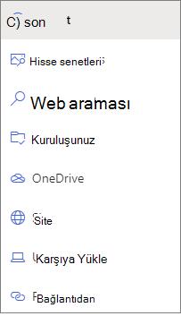 Dosya Seçici seçeneklerinin resmi.