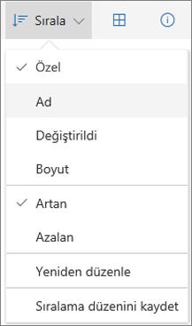 OneDrive'da Sırala menüsünün ekran görüntüsü