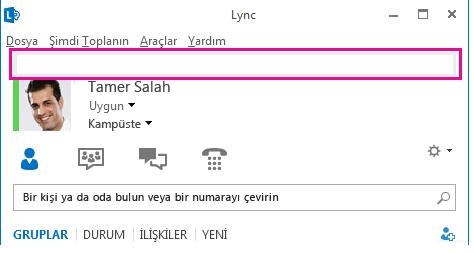 Kişisel not alanı vurgulanmış biçimde, Lync ana penceresinin üst kısmının ekran görüntüsü