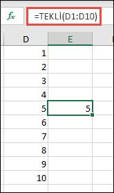 =TEKLİ(D1:D10) kullanılan TEK işlevi örneği