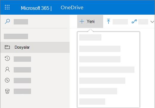 OneDrive İş'te yeni bir belge oluşturmak Yeni menüsünün seçildiği ekran görüntüsü