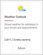 Ücretsiz deneme veya ücretli olarak sağlanan Hava Durumu Outlook eklentisinin ekran görüntüsü.
