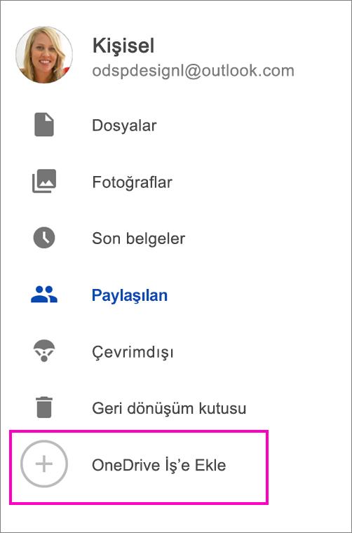 OneDrive iş'e ekleme.