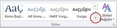 Word 2010'daki diğer stiller düğmesi