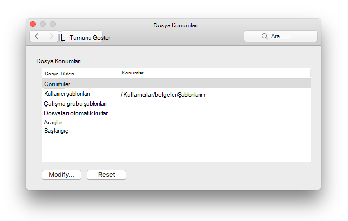 Microsoft Word 'den dosya konumları tercih panelinin ekran görüntüsü