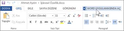 Office Online'ı çalıştırmak yerine tam Office uygulamasını açma