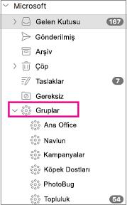 Mac için Outlook 2016'nın klasör bölmesinde listelenen gruplar