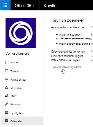 Ekran görüntüsü: ticari hesap kurulumu ve kayıtları'ödemeleri yönetmek için seçin