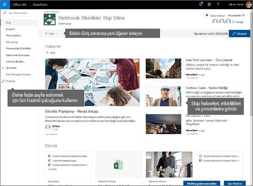 SharePoint Online ekip sitesi giriş sayfası
