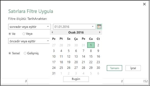 Filtre Satırları ve Koşullu Sütunlar iletişim kutularında giriş Tarih değerleri Excel Power BI Tarih Seçici desteği