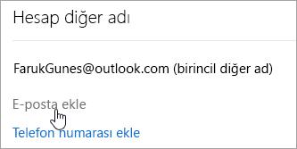 E-posta ekle düğmesinin ekran görüntüsü.