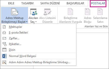 Word'deki Postalar sekmesinin ekran görüntüsünde, Adres Mektup Birleştirmeyi Başlat komutu ve çalıştırmak istediğiniz birleştirme türü için sağlanan seçenekler gösteriliyor.
