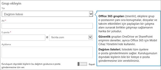 Grup sayfa ekleme - açılan seçin ve dağıtım listesini seçin